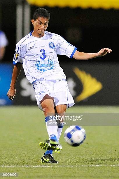 Marvin Gonzalez of El Salvador kicks the ball against Canada during a CONCACAF Gold Cup match at Crew Stadium on July 7 2009 in Columbus Ohio