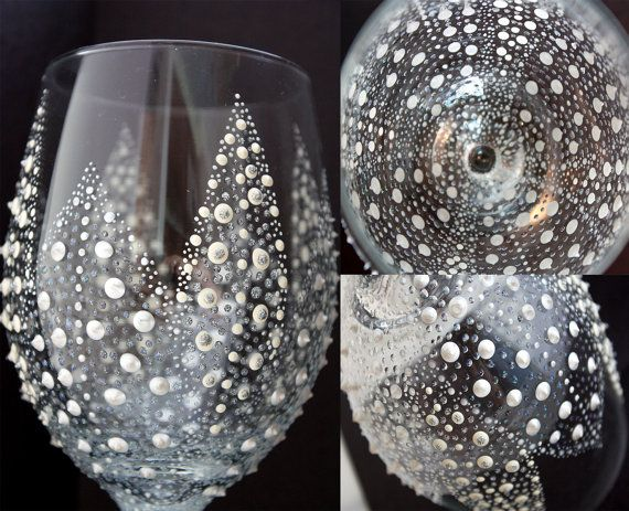 Hand Painted Wine Glasses - Bridal Shower Favors - Bride Glass - White and Gold by SteeleMagnoliaDesign, $25.00