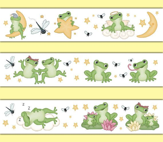 FROG WALLPAPER BORDER Decal Baby Nursery Wall Art Stickers Decor Kids Froggy Pond Room Childrens Woodland Forest Animal Friends Bedroom #decampstudios