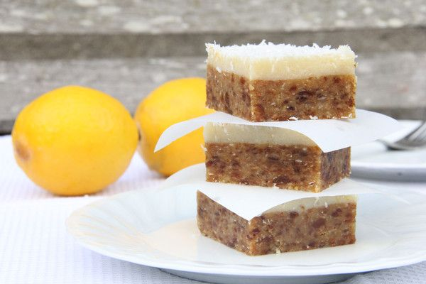 A delicious healthy slice made with juicy apricots and coconut, smothered in a creamy lemon icing. Vegan, Dairy Free, Sugar Free, Gluten Free, Raw and Paleo.