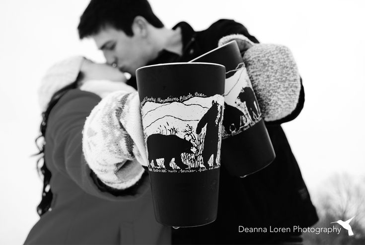 Winter couple picture ideas | snowy engagement picture ideas | love the coffee mugs! | Deanna Loren Photography