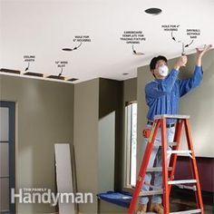 <p>Give your room a stunning new look and feel by adding DIY  recessed lights. Even if you don't have access to the ceiling from the attic,  you can install these lights by following the directions shown here. You don't  have to tear up your ceiling either. We'll show you how to add these lights to  your room with minimum ceiling tear-out and patching. You can also use these  wiring techniques to install other types of ceiling lighting. </p>
