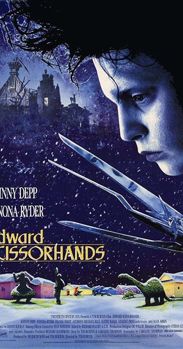 Directed by Tim Burton.  With Johnny Depp, Winona Ryder, Dianne Wiest, Anthony Michael Hall. A gentle man, with scissors for hands, is brought into a new community after living in isolation.