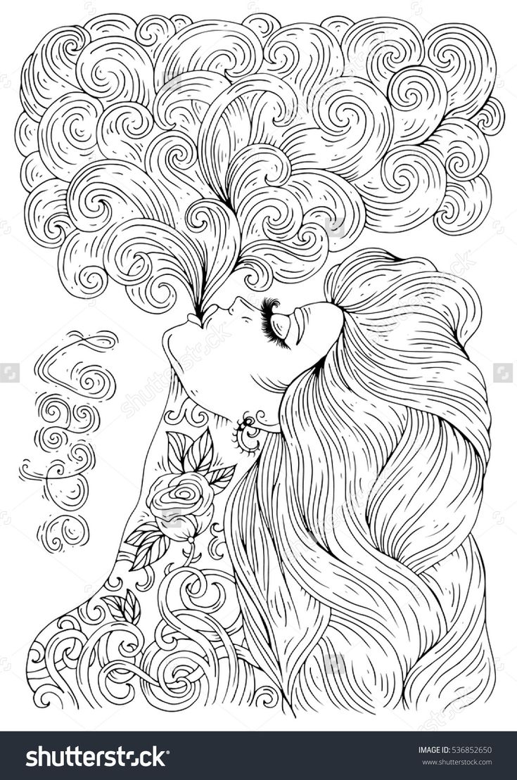 Colouring sheets of the lunar eclipse - Vector Hand Drawn In Profile Sexy Tattooed Woman With Long Hair Let A Pair Vaping