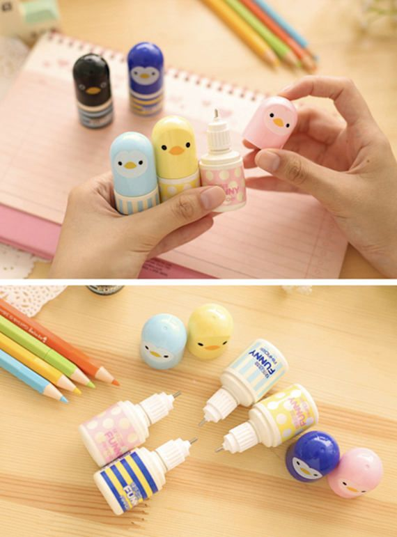 Can you believe these kawaii lil birdies are correction pens?? Correction Tape - Funny Animal Liquid Correction Pen | Back to School | Liquid Pen | Gift Ideas. These are such awesome & kawaii correction liquid pen (like Tippex / whiteout) and comes with 5 different colours! Collect them all today! Fans of cute kawaii Japanese or Korean stationery will love these for their office or school supplies collection. #kawaii #stationery #pens #cute #etsy #stationary #ad