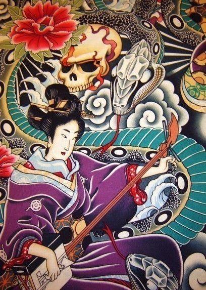 Zen Charmer Geisha Asian Japanese fabric Alexander Henry