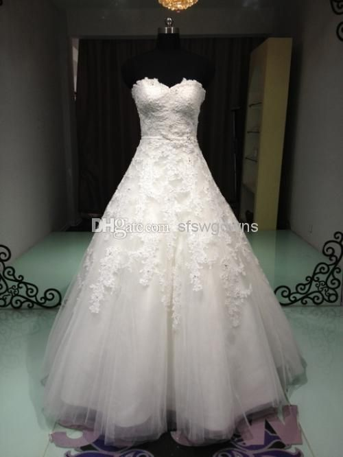 Wholesale 2014 Wedding Gowns - Buy A Line Sweetheart Floor Length Beaded Applique Tulle Standard Code 2014 Wedding Dresses Fashion Wedding Gown No Risk Shopping, $206.92 | DHgate
