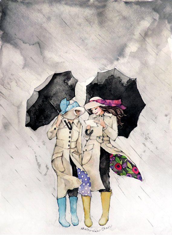 Les meilleures amies de peinture - parapluies - pluie - aquarelle imprimer 8 x 10
