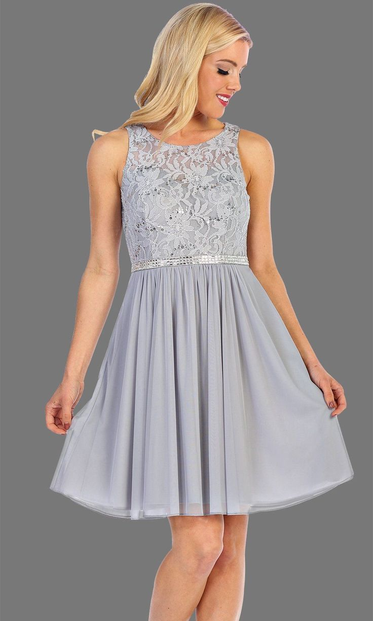 5e859ce80a1c Short Silver Flowy Dress With Lace Bodice  graduationdress  graddress   promdress  bridaldress  showerdress