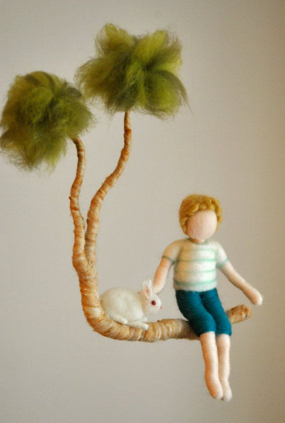 Nursery  Mobile Waldorf Inspired : Boy with bunny on by MagicWool