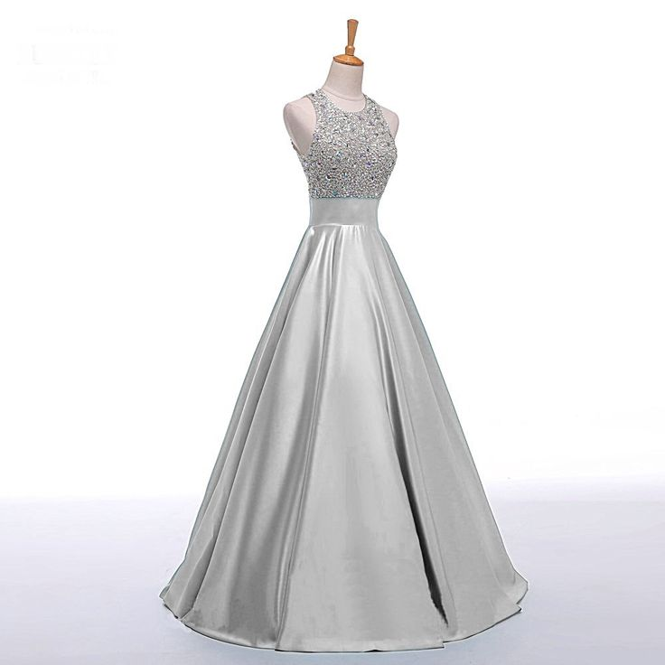 Prom Dresses, Bateau Prom Gowns, Long Satin Prom Dresses, Silver Prom Dress, Prom Dresses with Beadings, Backless Prom Dress, 2017 Prom Dresses, Custom Made