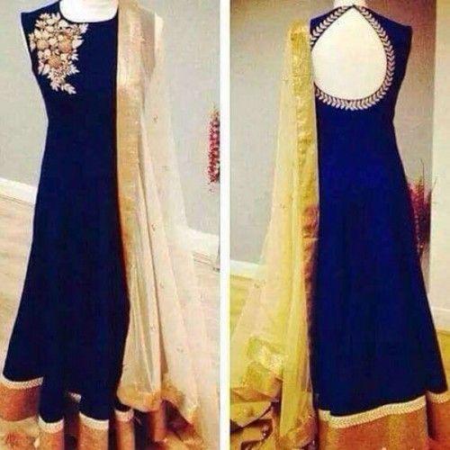Georgette Patch Work Blue Plain Unstitched Long Anarkali Suit - 5207