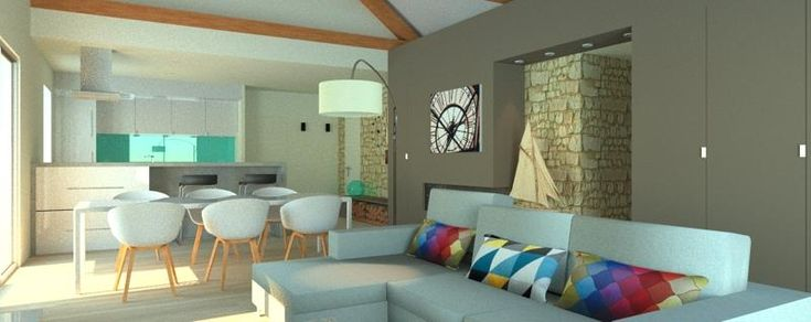 Living area view on the kitchen the living room and the - Piece a vivre moderne ...