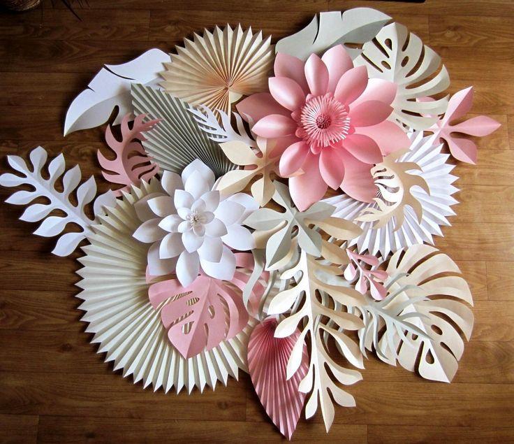 Paper Tropical Leaves - Large Paper Flower Backdrop Alternative - Tropical Hawaiian Wedding Decorations - Papier Deco - Luau Party Decor by PapierDeco on Etsy