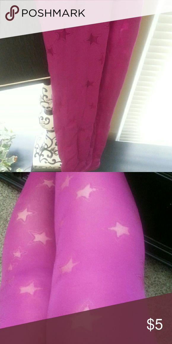 Footless Tights Starry pink tights. New, just put them on for picture Accessories Hosiery & Socks