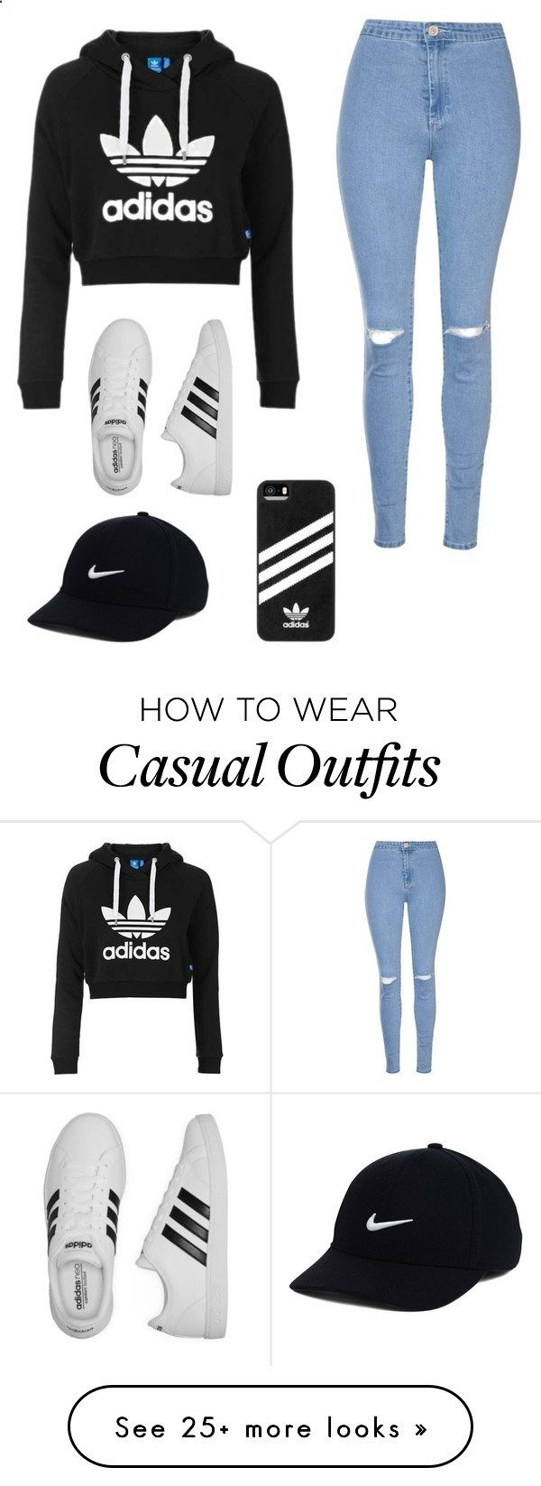Casual by amakinney on Polyvore featuring Topshop, Glamorous, adidas and NIKE