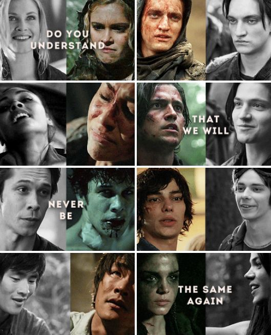 I absolutely love the character development of each individual charcter on the 100. Except for Finn's....
