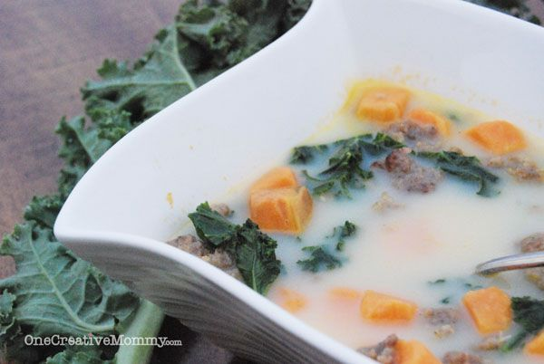 Skinny Sweet Potato Toscana Soup Recipe -- If you like Zuppa Toscana sausage potato soup, check out this lighter version with a sweet potato twist. {Tasty with Kale, Swiss Chard, or Spinach} OneCreativeMommy.com