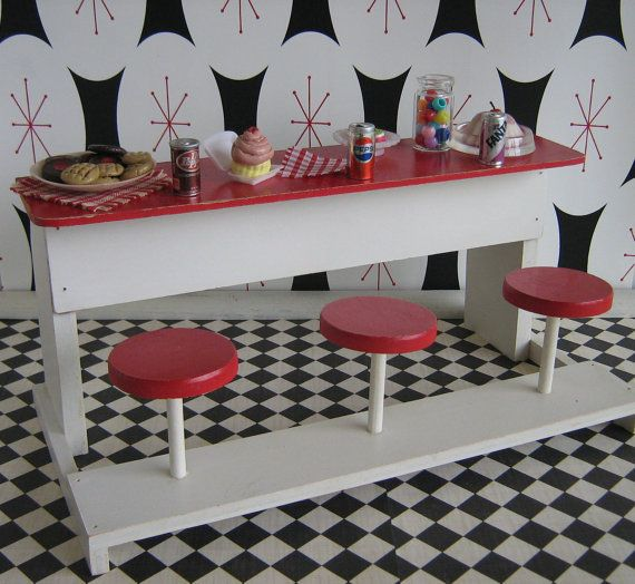 Attractive 50u0027s Doll Furniture Wooden Soda Fountain Bar By TheToyBox On Etsy, $65.00