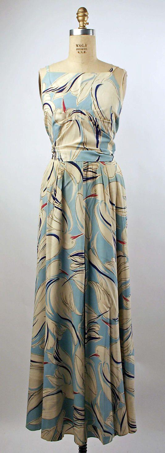 Blue bird-print silk pajamas, American, early 1930s.