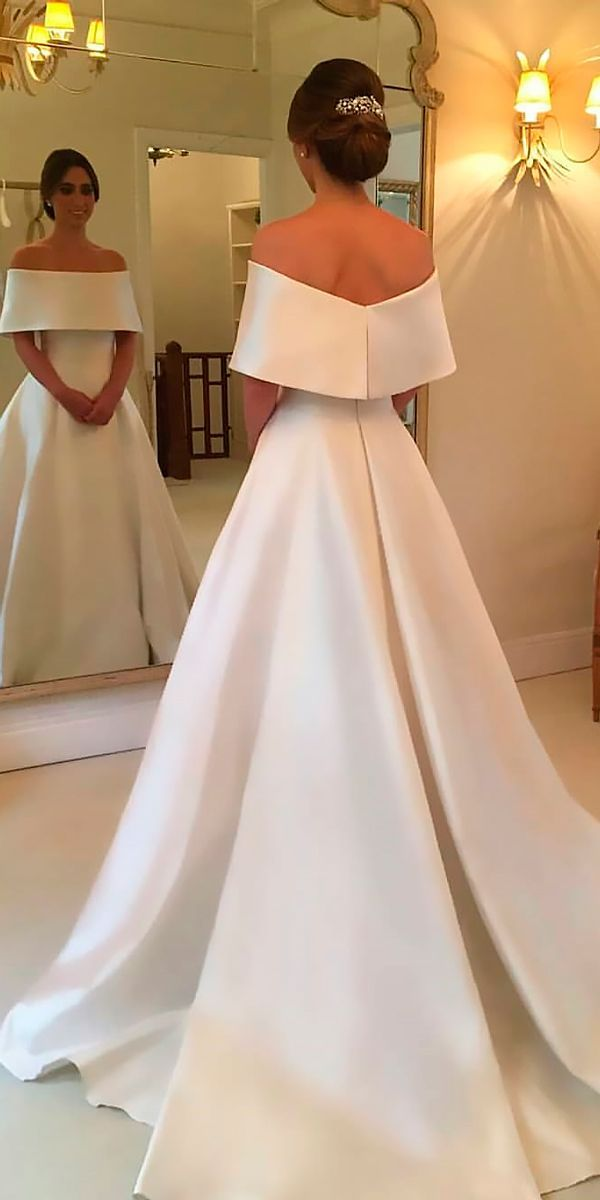 30 Simple Wedding Dresses For Elegant Brides ❤️ simple wedding dresses a line off the shoulder with train wanda borges ❤️ See more: http://www.weddingforward.com/simple-wedding-dresses/ #weddingforward #wedding #bride