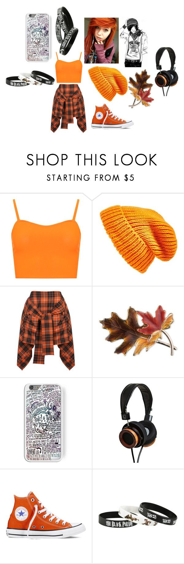 Emo- Orange by whitenoiseiswatching on Polyvore featuring WearAll, Vivienne Westwood Anglomania, Converse, Anne Klein and Topshop