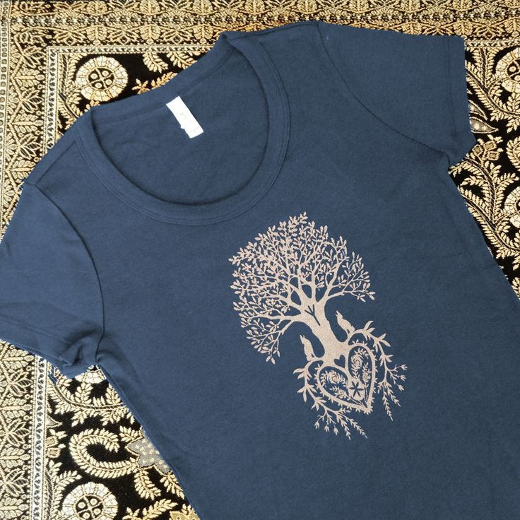 Tree of Life Navy Blue Silkscreened Women's Tee by LittleGoldFoxDesigns on Etsy