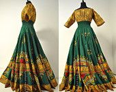 Soleil et Vert -  Long Tiered Green and Gold African Dashiki Dress, Bohemian Maxi Gown,  Barefoot Modiste Handmade, Ideal for size - S to M