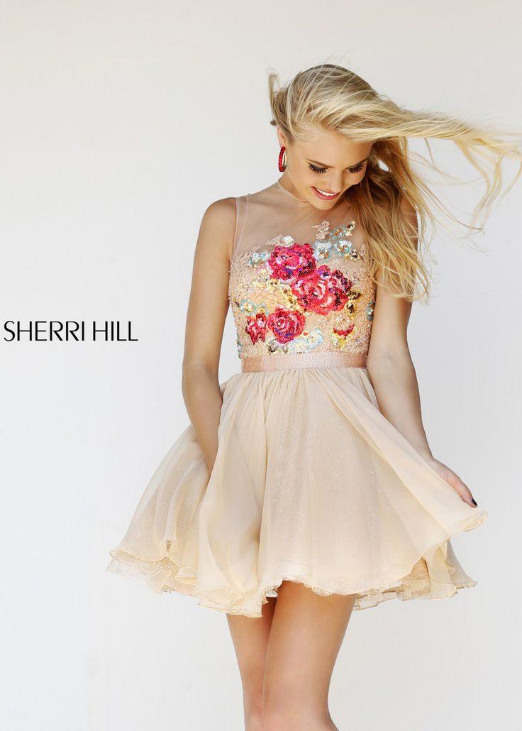 Shop New 2014 Sherri Hill Prom Dresses, find Sherri Hill 21198 nude, multi floral lace short dress at RissyRoos.com.