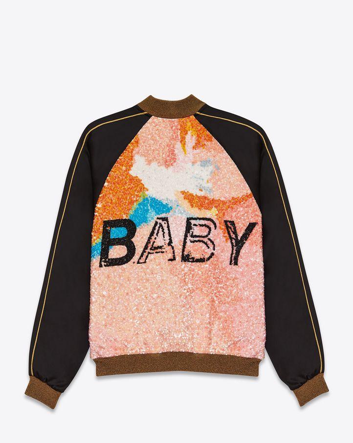 SAINT LAURENT 「BABY」テディ ジャケット(ブラック/ビスコース&マルチカラーシークイン)