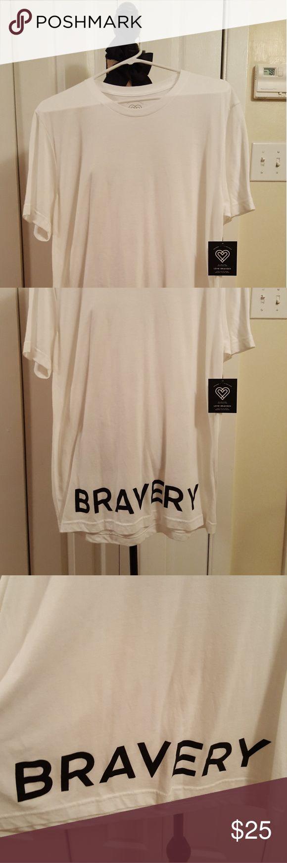 Lady Gaga and Elton John T-Shirt White Bravery Cotton T-Shirt Love Bravery Tops Tees - Short Sleeve