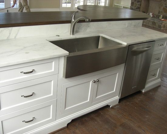 Gorgeous Stainless Steel Farmhouse Sink In Kitchen Eclectic With Brookwood Cabinets Next To A Front Alongside And