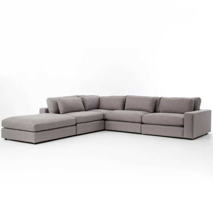 Deep, low seating says relax. An inviting sectional is covered in a soft, durable light gray woven fabric. Modular components allow the perfect for any space. Available in two tones. Bloor sectional s