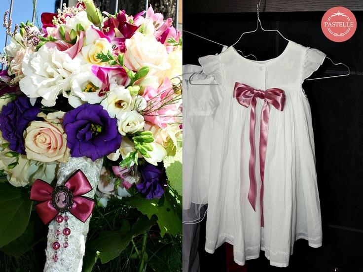 elegant wedding bouquet - roses, orchids. white and purple lisianthus, minirosa, freesia