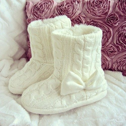 Not a fan of Ugg style boots, but these are adorable! And they're sweater material, so they're prob not made from animals