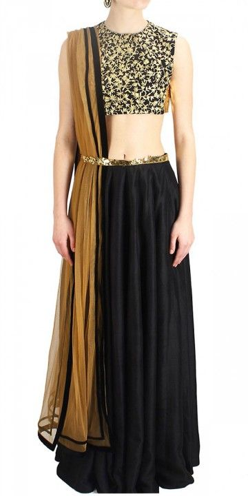 Georgeous Black And Brown Silk Lehenga Choli.