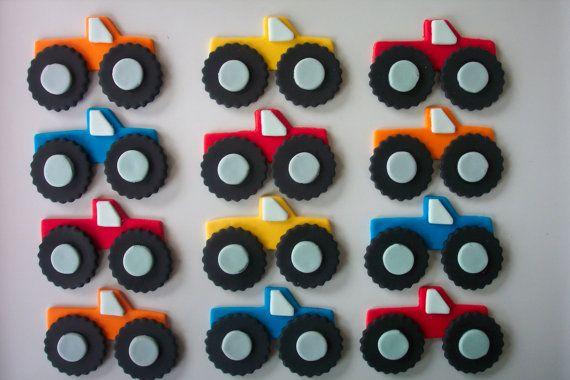 monster truck fondant cupcake toppers