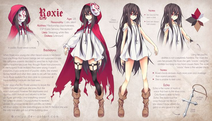 Character Design Backstory : Roxie reference by riniuu viantart anime manga