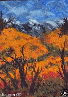 Original Art ACEO Autumn Rocky Mountain Fall Painting Pat Adams OOAK.  You can find my available paintings at: www.bonanza.com/booths/NaturesViews