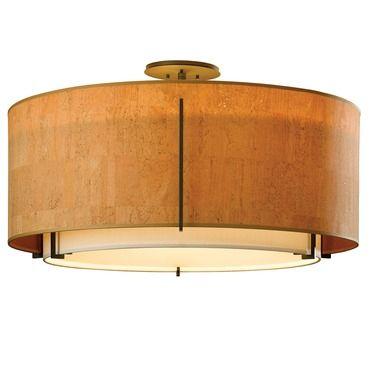 Exos large double shade semi flush ceiling light hubbardton forge at lightology
