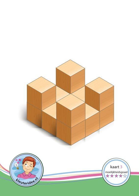Bouwkaart 3 moeilijkheidsgraad 4 voor kleuters, kleuteridee, Preschool card building blocks with toddlers 3, difficulty 4, free printable.