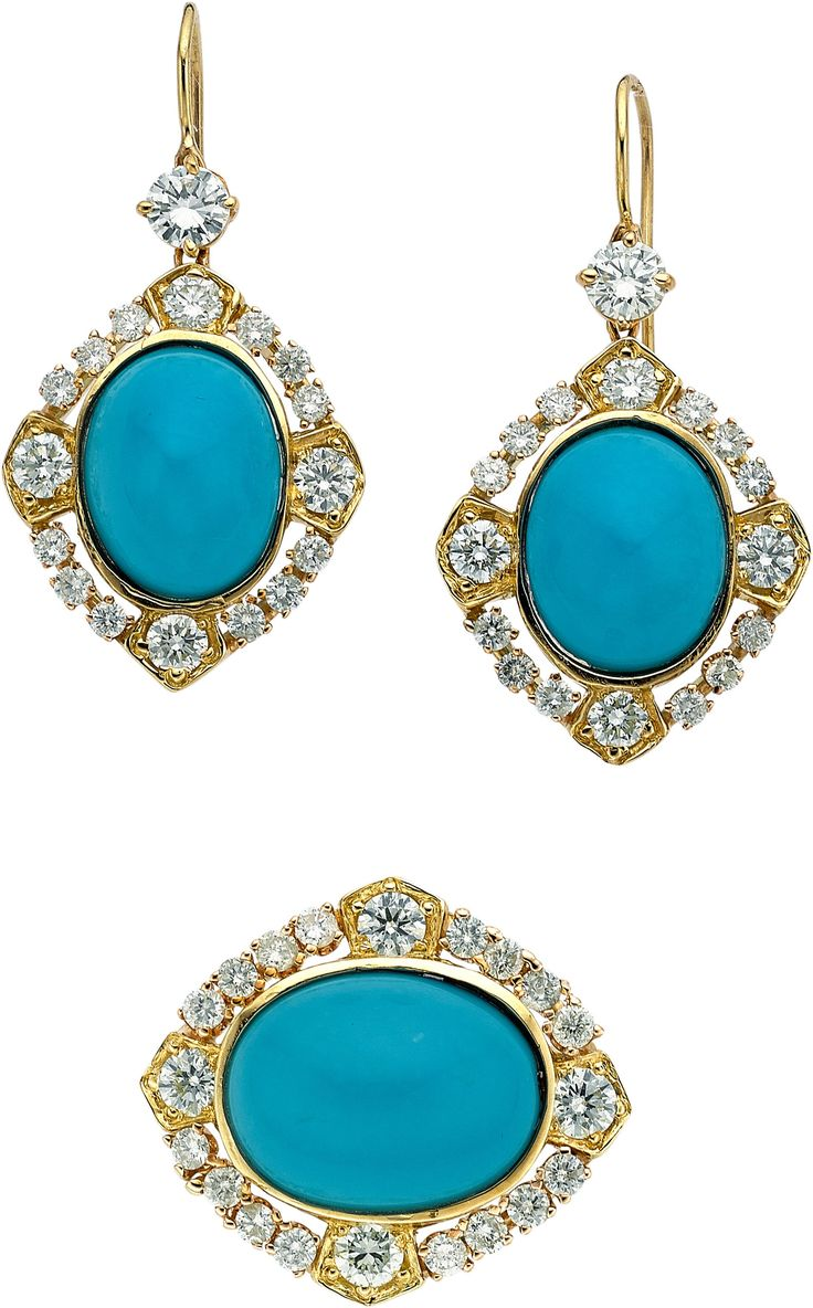 Image of Turquoise, Diamond, Gold Jewelry Suite. ... (Total: 2 Items) Estate | Lot #54020 | Heritage Auctions