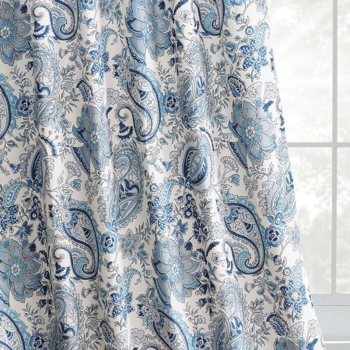 Waukesha Paisley Room Darkening Rod Pocket Single Curtain Panel Curtains Blue And White Curtains Panel Curtains