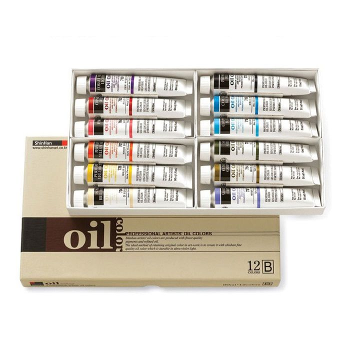 Oil Color Paint Set Shinhan Professional 12 Colors 50ml B Tube Artist Drawing #Shinhan