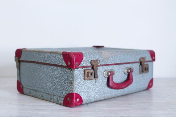 vintage burgundy and blue small suitcase by epochco on Etsy, $35.00
