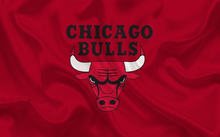 Download wallpapers Chicago Bulls, NBA, USA, basketball, basketball club, Chicago Bulls emblem, red silk