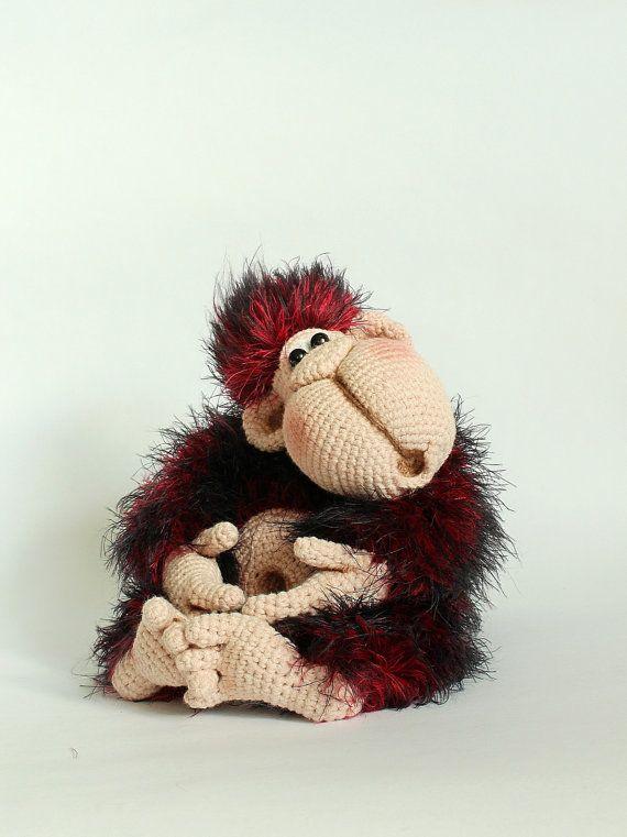 Crochet monkey toy orangutan Stuffed monkey by KnittedToysNatalia