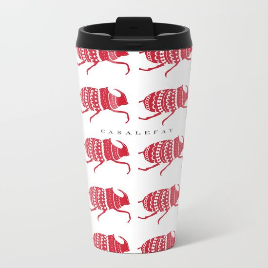 Red beetles Metal Travel Mug casa lefay design  red trends illustration