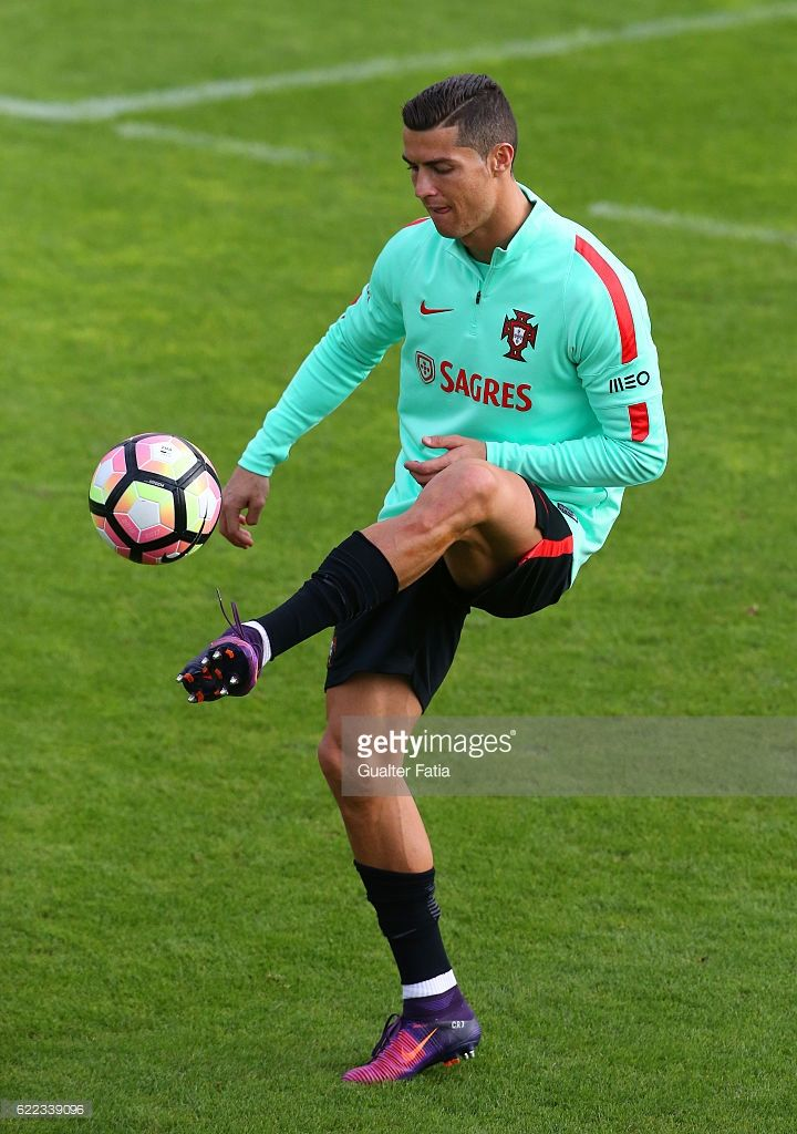 Portugal's forward Cristiano Ronaldo in action during Portugal's National  Team Training session before the 2018 FIFA World Cup Qualifiers matches  against ...