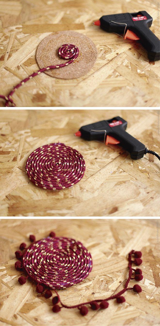 Como fazer um porta-copos lindo DIY                                                                                                                                                      Mais